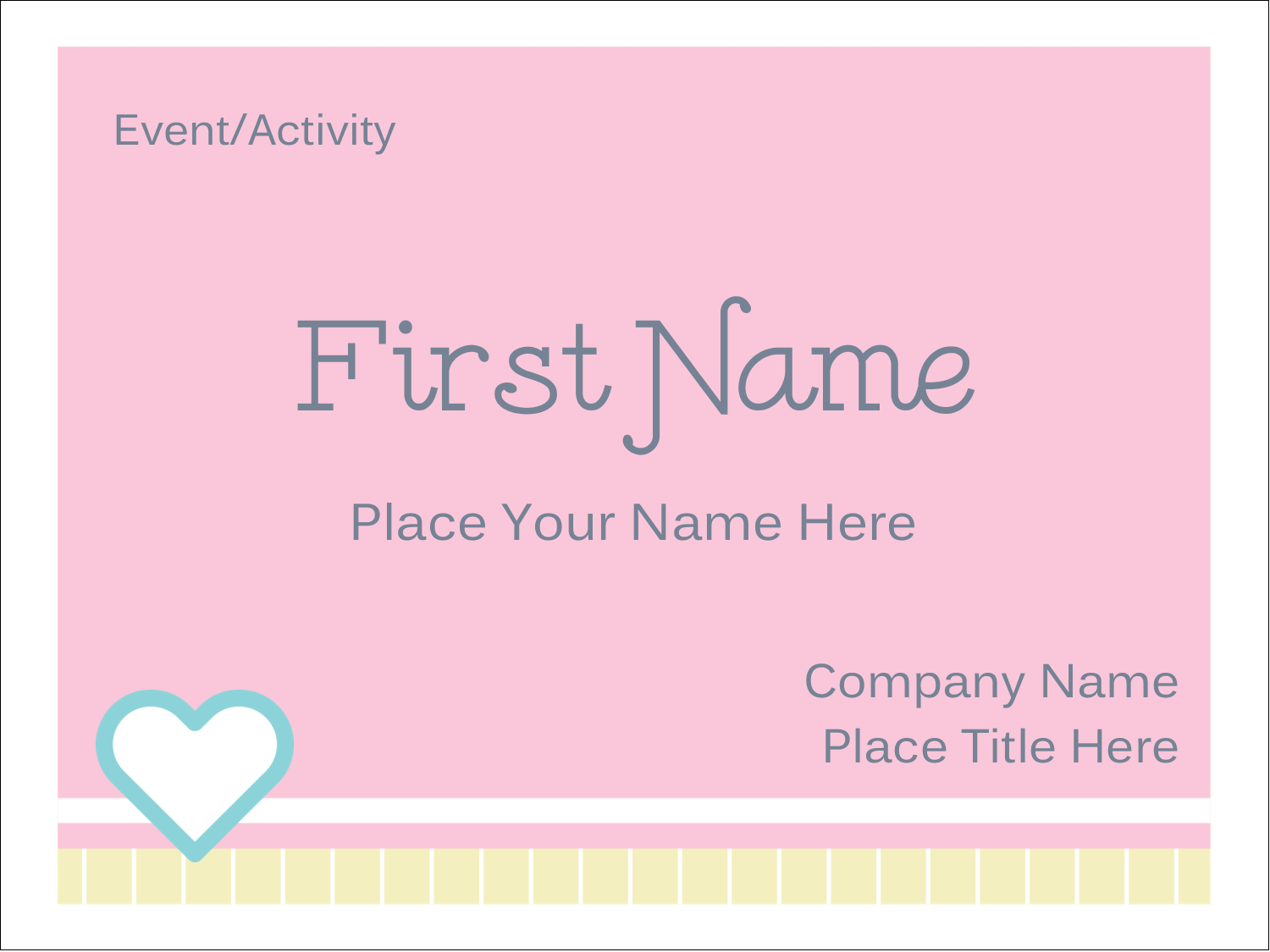 "3"" x 4"" Name Tags - Blue Heart"