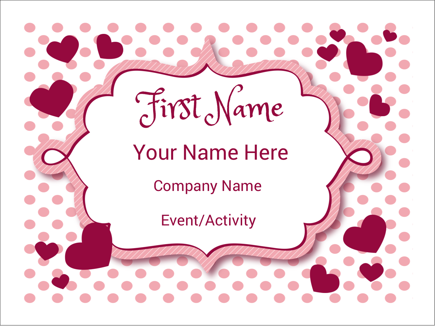 """3"""" x 4"""" Name Tags - Valentine Bubbles"""