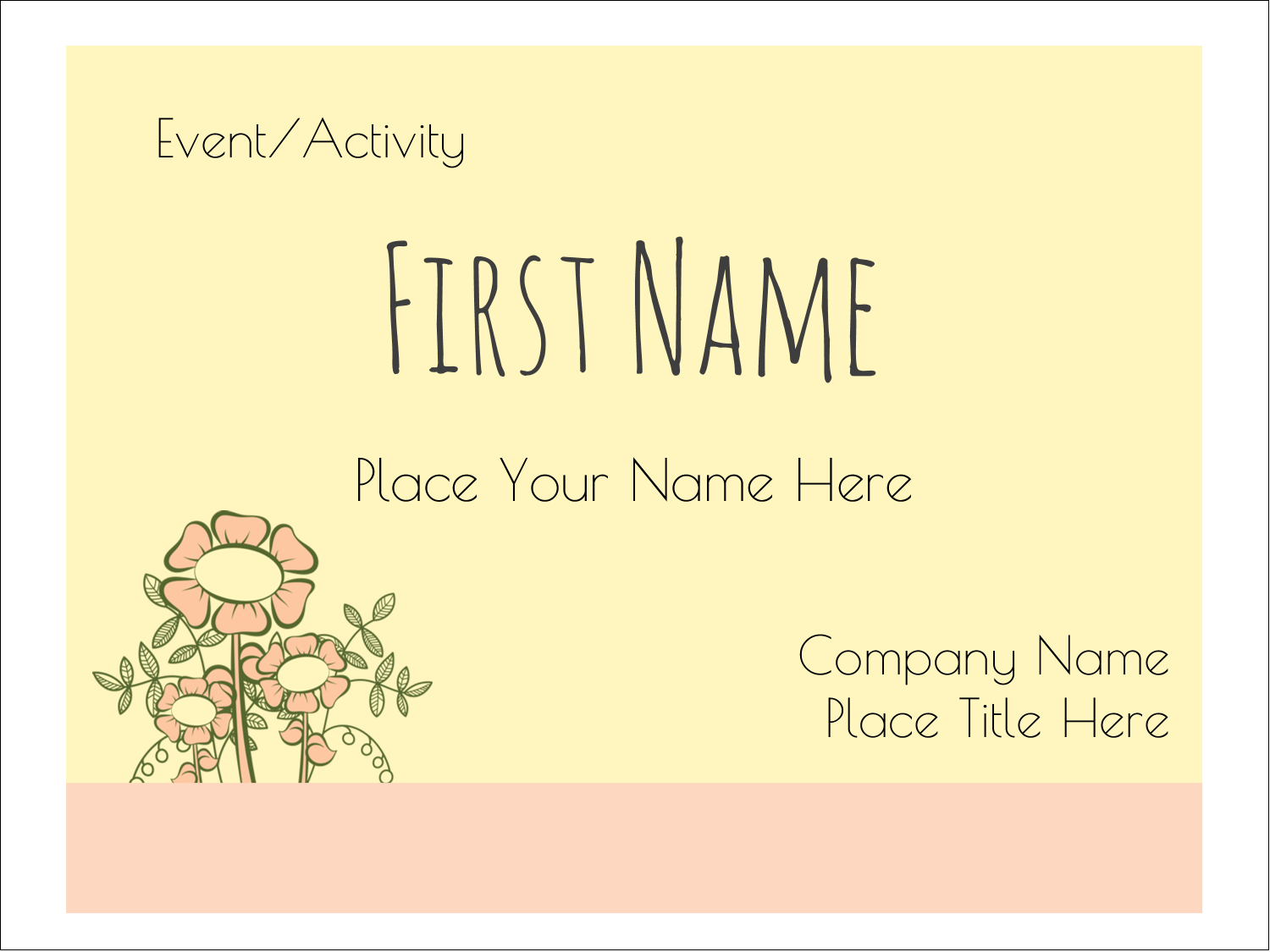 "3"" x 4"" Name Tags - Flower Sketch"