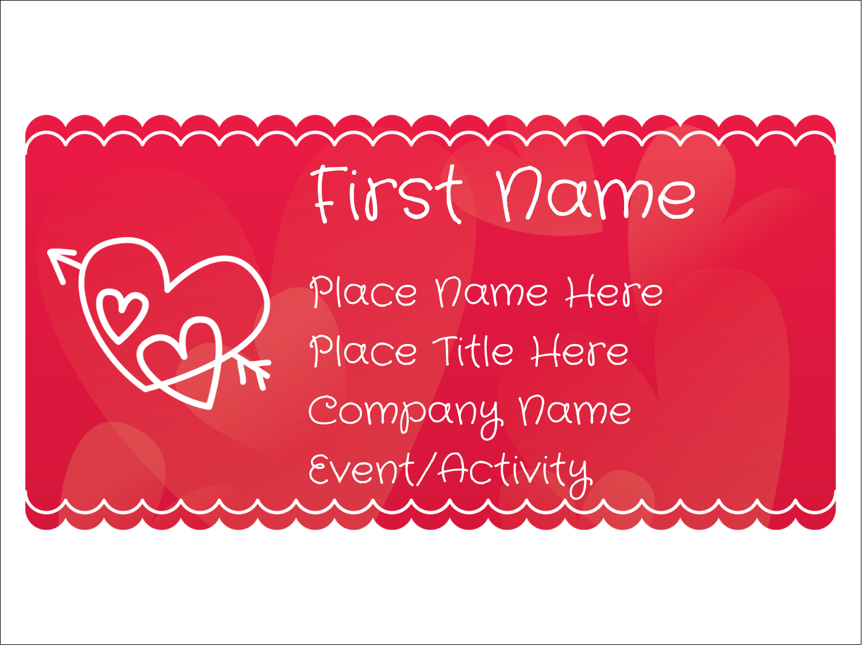 "3"" x 4"" Name Tags - Valentine Drawn"