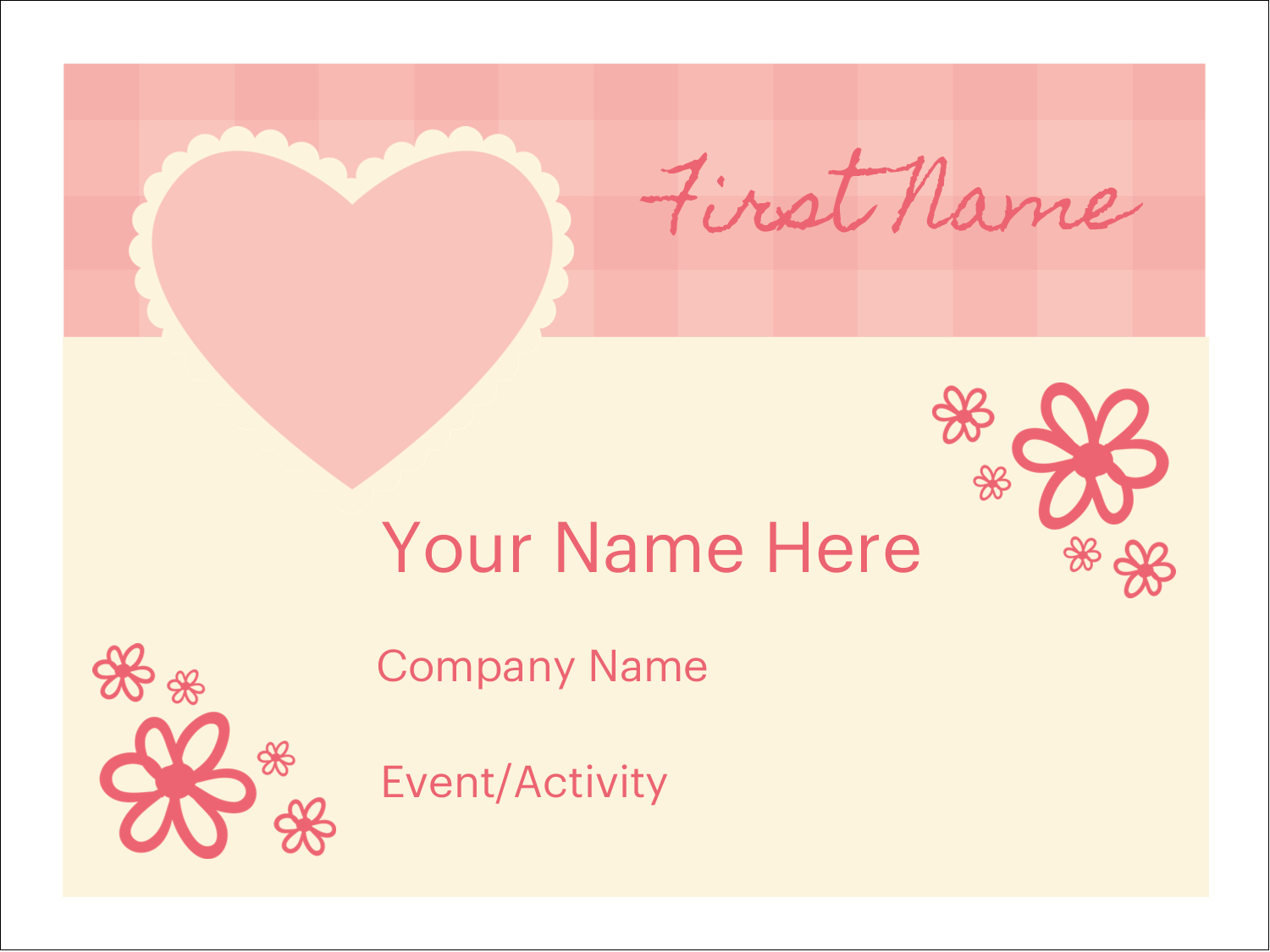 "3"" x 4"" Name Tags - Valentine Gingham"