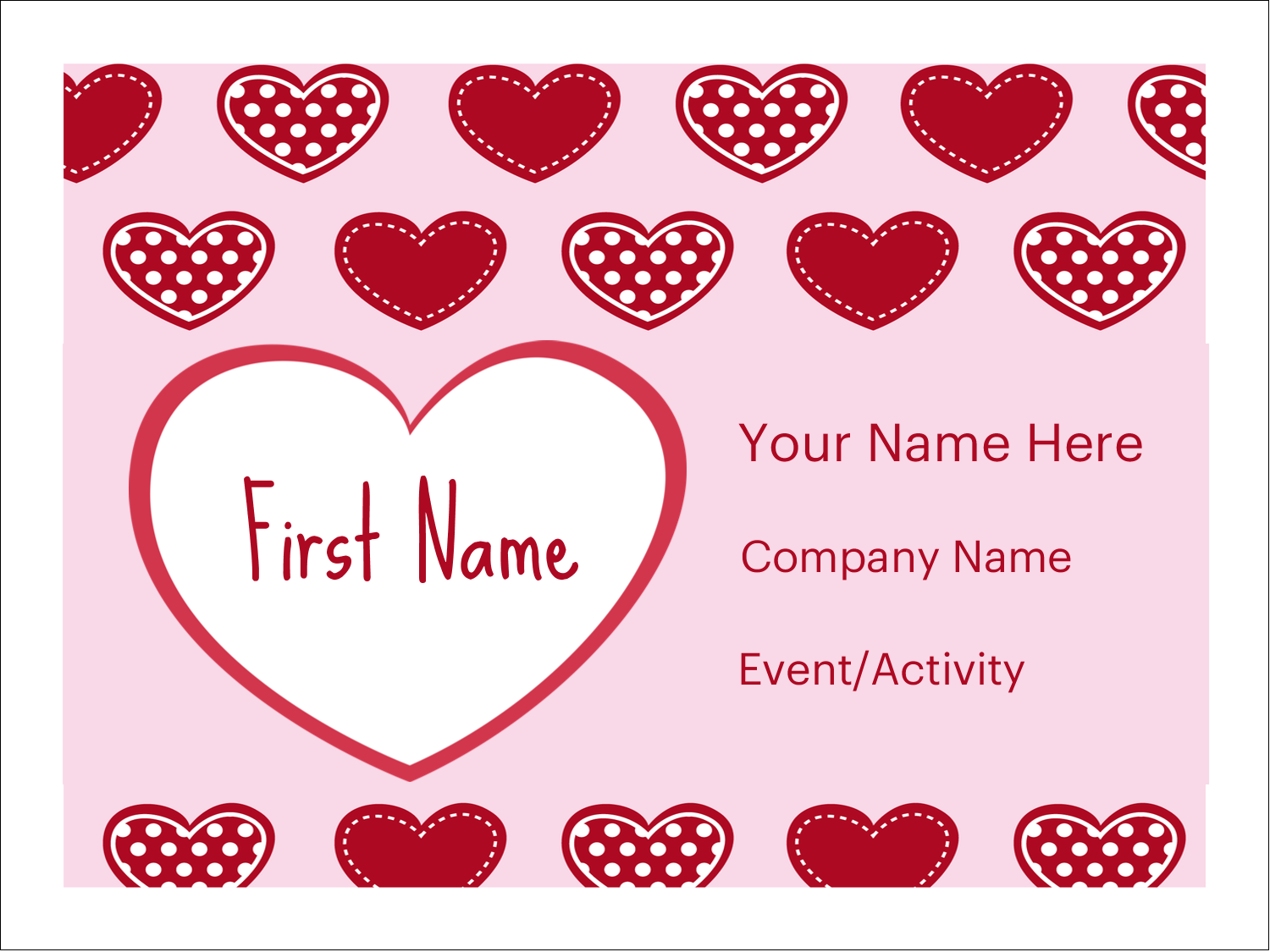 """3"""" x 4"""" Name Tags - Valentine Heart Pattern"""