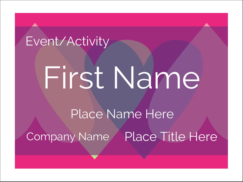 "3"" x 4"" Name Tags - Valentine Heart Row"