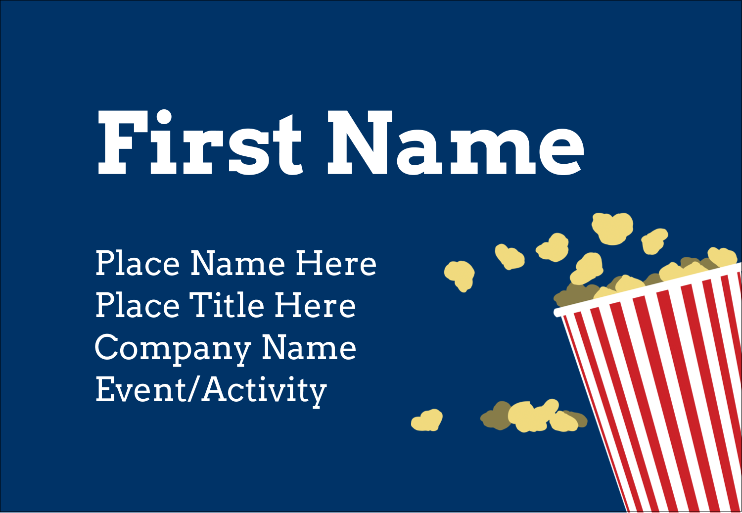 "3⅜"" x 2⅓"" Name Badge - Movie Popcorn"