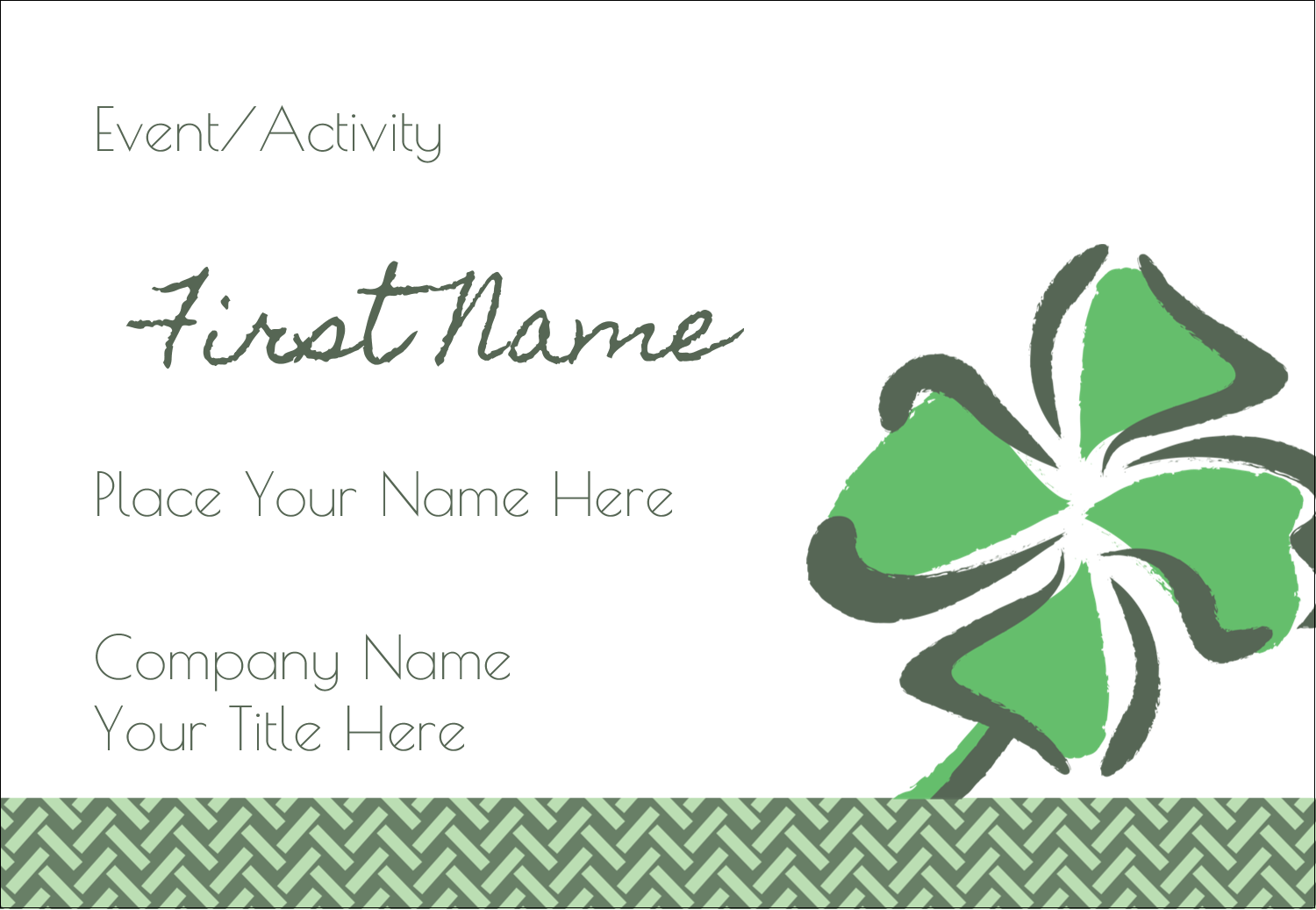 "3⅜"" x 2⅓"" Name Badge - St. Patrick's Shamrock"