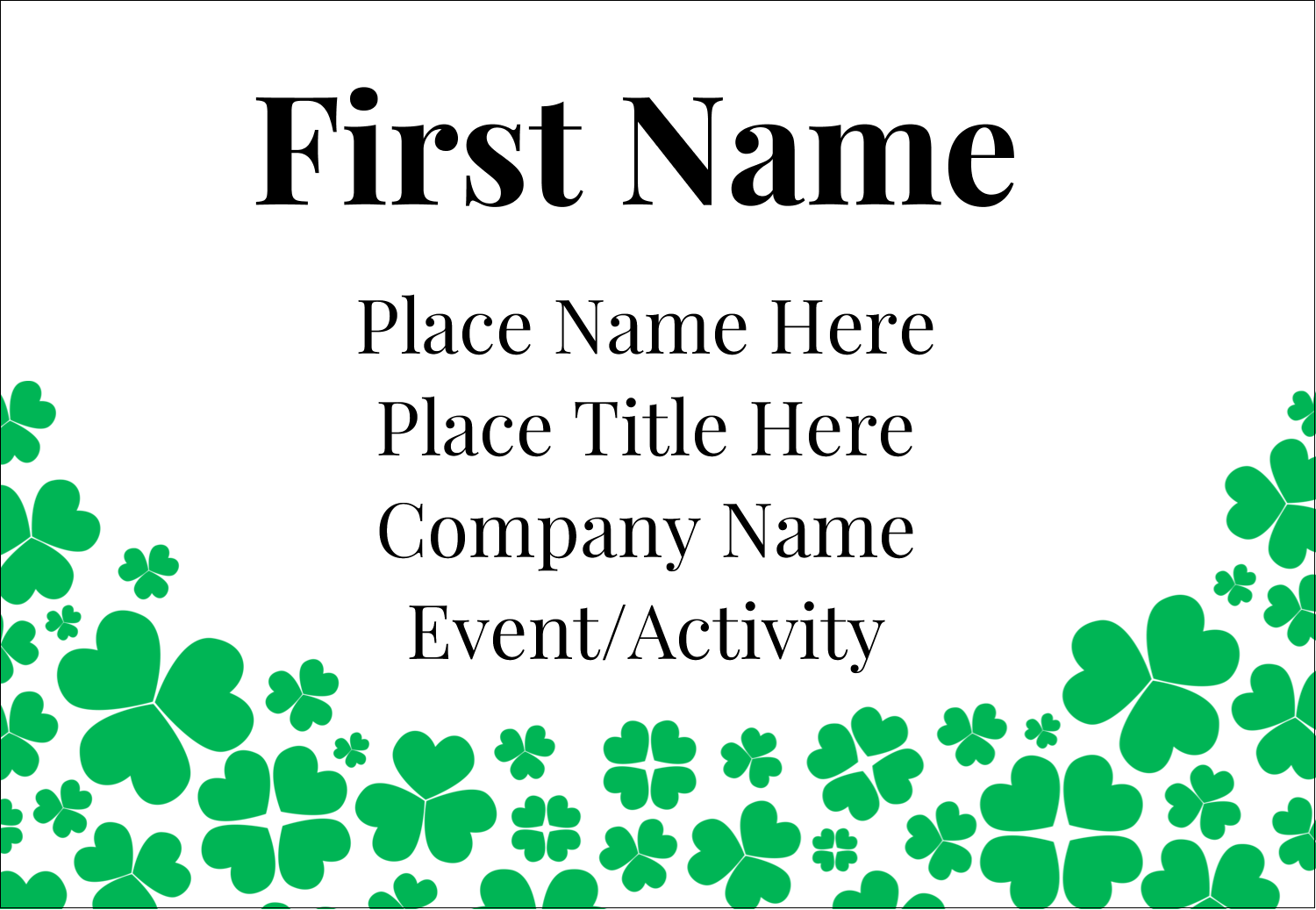 "3⅜"" x 2⅓"" Name Badge - St. Patrick's Shamrock Rain"