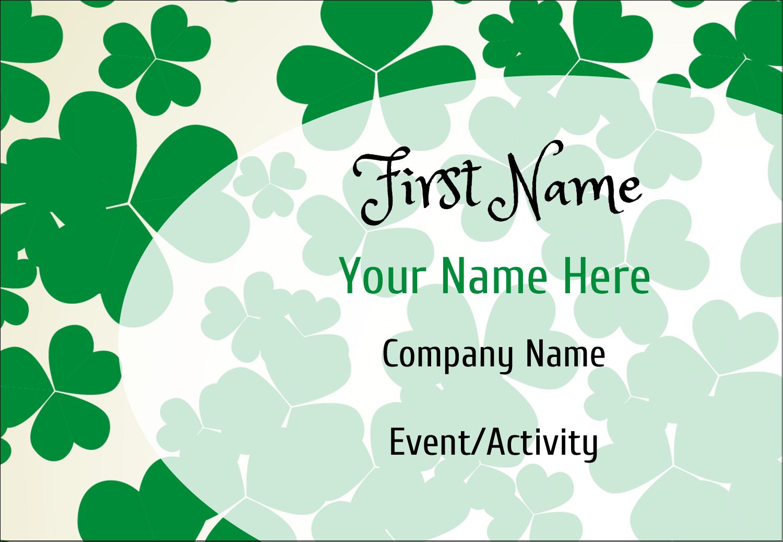 """3⅜"""" x 2⅓"""" Name Badge - St. Patrick's Shamrock Background"""