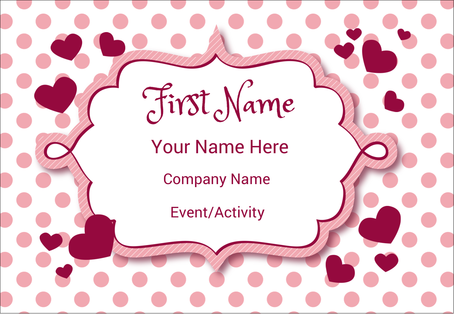 "3⅜"" x 2⅓"" Name Badge - Valentine Bubbles"