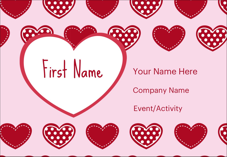 "3⅜"" x 2⅓"" Name Badge - Valentine Heart Pattern"