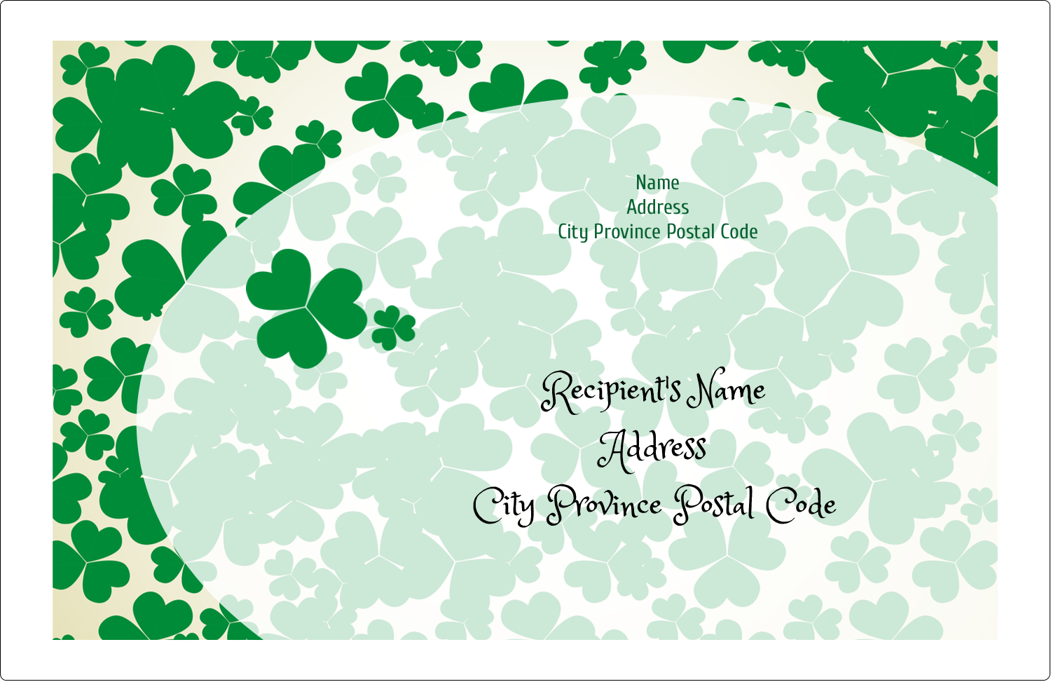 "5½"" x 8½"" Shipping Label - St. Patrick's Shamrock Background"