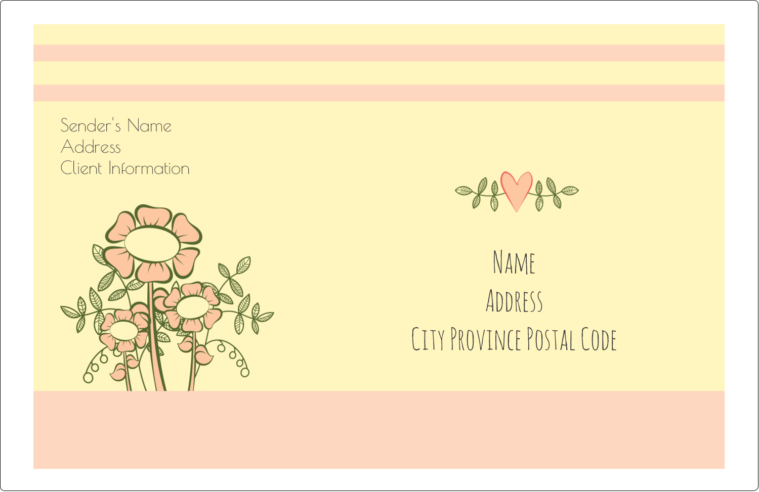 "5½"" x 8½"" Shipping Label - Flower Sketch"