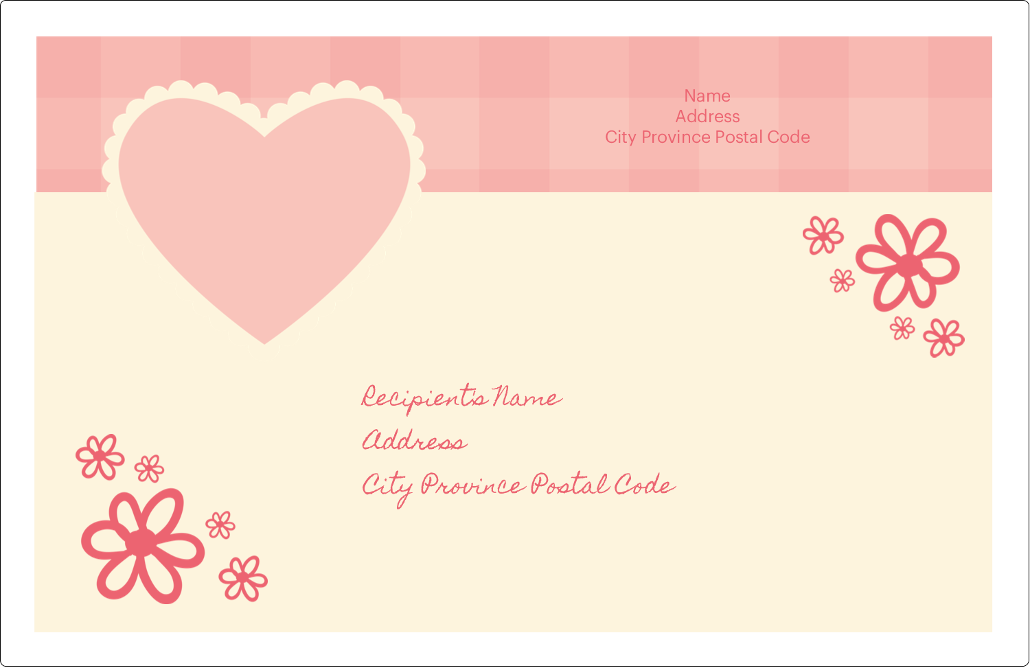 "5½"" x 8½"" Shipping Label - Valentine Gingham"