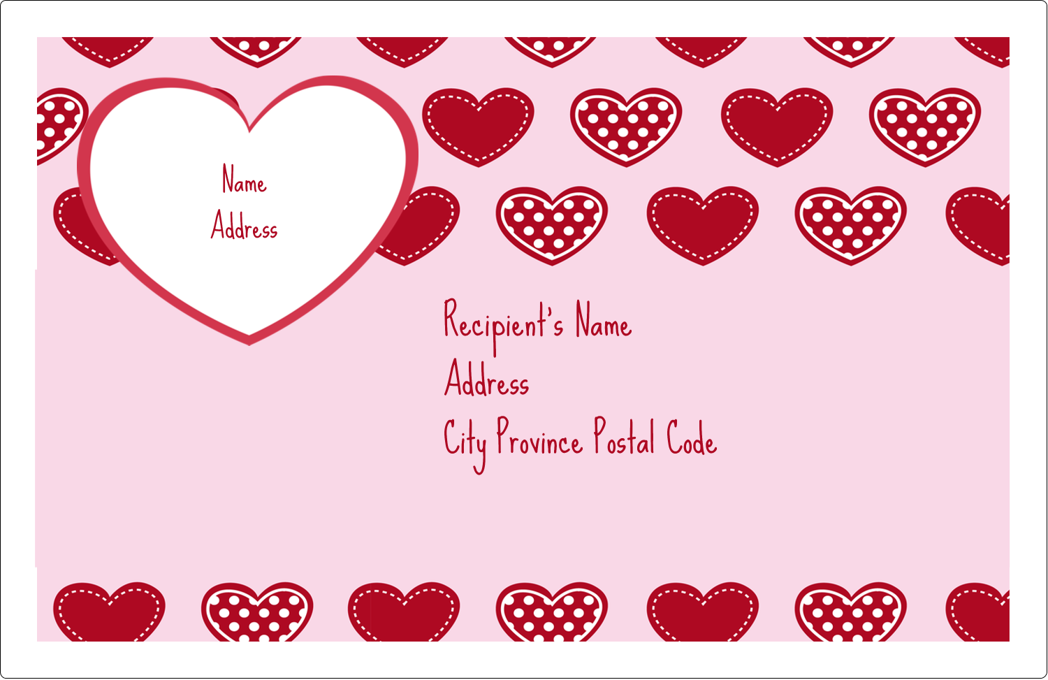 "5½"" x 8½"" Shipping Label - Valentine Heart Pattern"