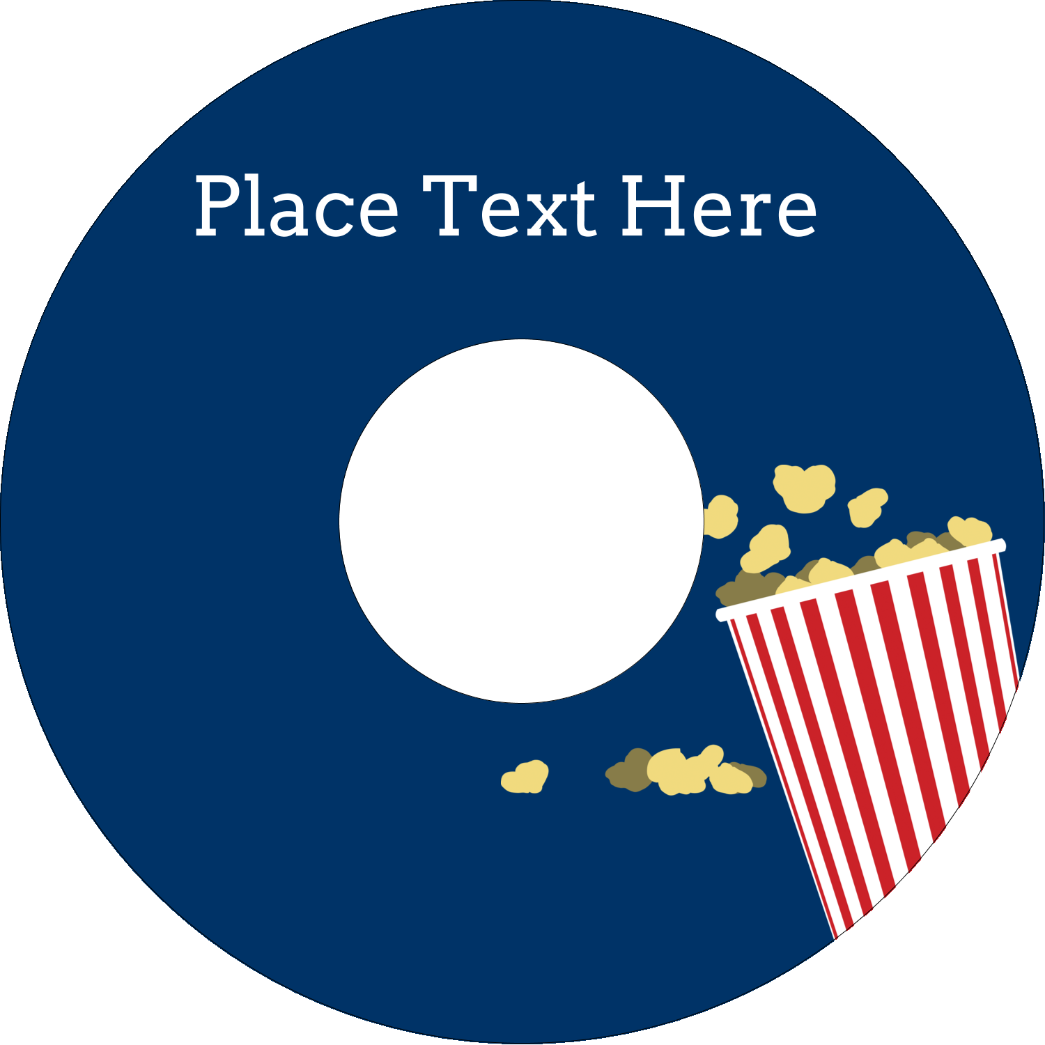 "4.65"" CD-DVD Label - Movie Popcorn"