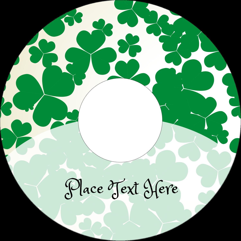 "4.65"" CD-DVD Label - St. Patrick's Shamrock Background"