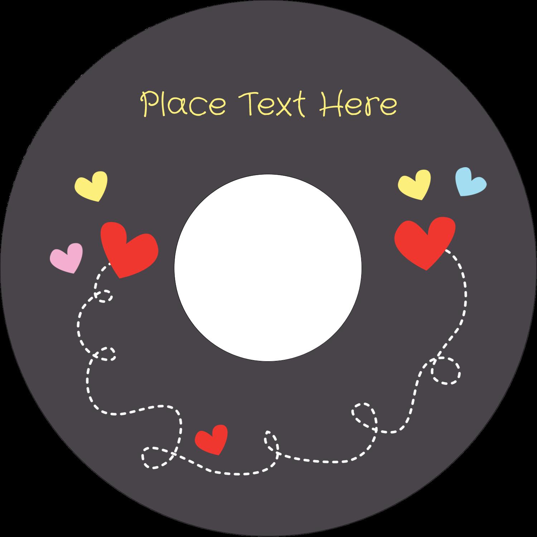 "4.65"" CD-DVD Label - Valentine Black Background"