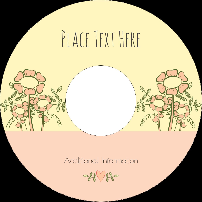 """4.65"""" CD-DVD Label - Flower Sketch"""