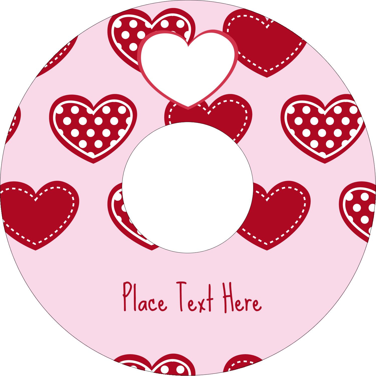 "4.65"" CD-DVD Label - Valentine Heart Pattern"