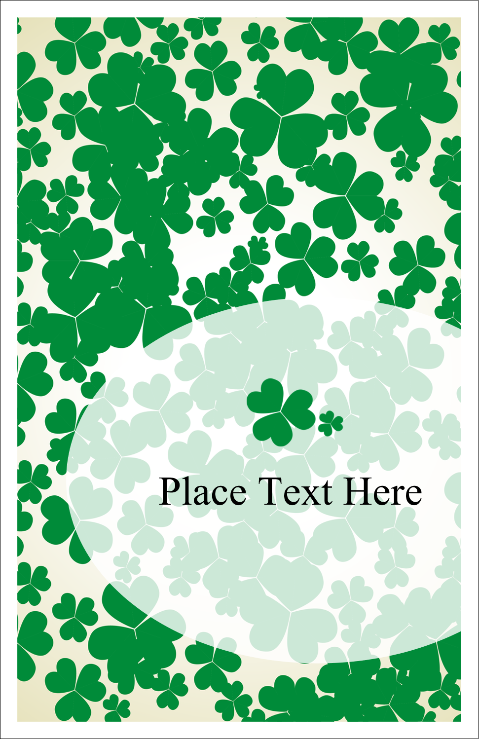 "5"" x 8½"" Half Fold Card - St. Patrick's Shamrock Background"