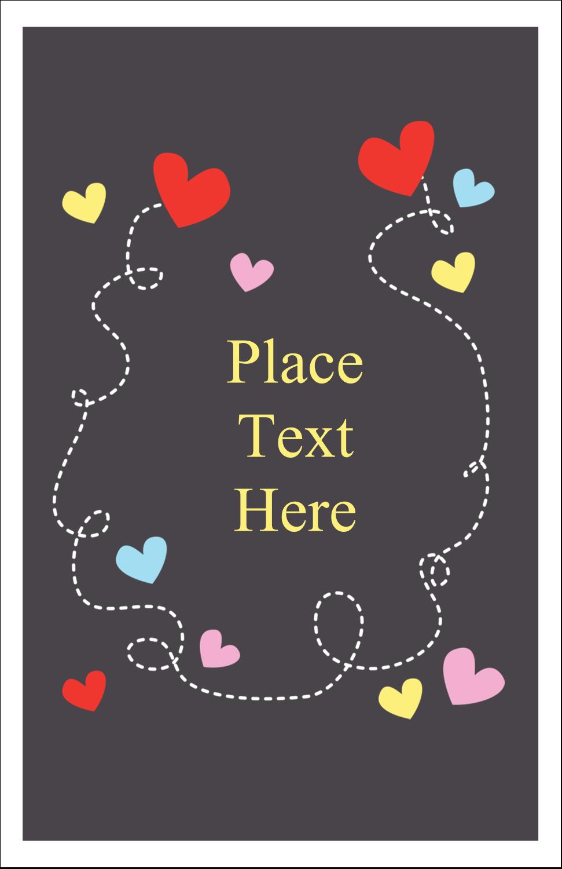 "5"" x 8½"" Half Fold Card - Valentine Black Background"
