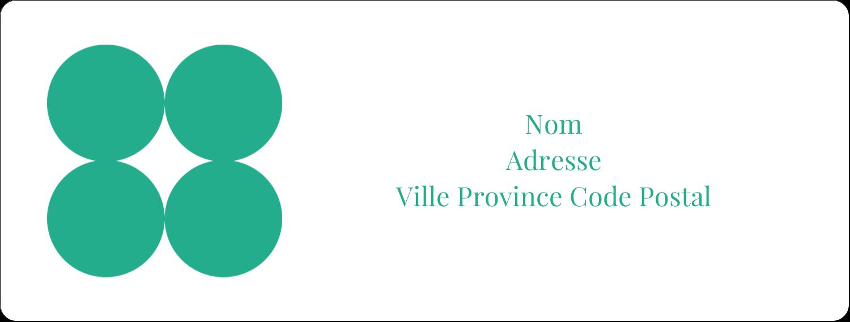 """1"""" x 4"""" Étiquettes d'adresse - Cercles vert sarcelle"""