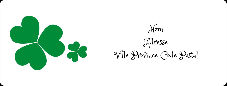 """1"""" x 4"""" Étiquettes d'adresse - Arrière-plan de trèfles de la Saint-Patrick"""