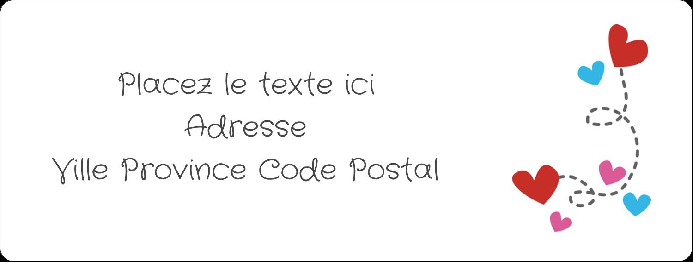 """1"""" x 4"""" Étiquettes d'adresse - Saint-Valentin sur fond noir"""