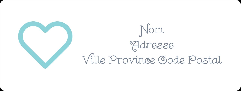 """1"""" x 4"""" Étiquettes d'adresse - Cœur bleu"""