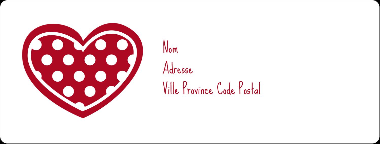 """1"""" x 4"""" Étiquettes d'adresse - Cœur de Saint-Valentin"""