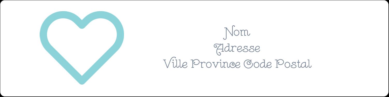 """1⅓"""" x 4"""" Étiquettes d'adresse - Cœur bleu"""