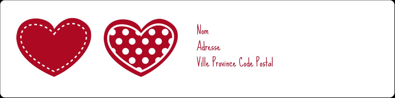 """1⅓"""" x 4"""" Étiquettes d'adresse - Cœur de Saint-Valentin"""