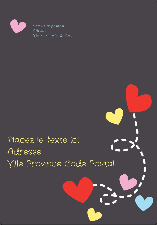 """⅔"""" x 1¾"""" Étiquettes D'Adresse - Saint-Valentin sur fond noir"""