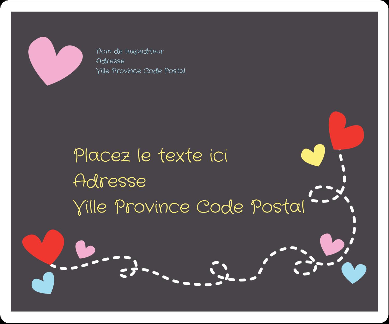 """½"""" x 1¾"""" Étiquettes D'Adresse - Saint-Valentin sur fond noir"""