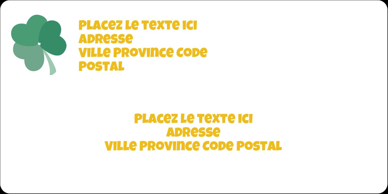 """3-7/16"""" x ⅔"""" Étiquettes de classement écologiques - Trèfles en cœur de la Saint-Patrick"""