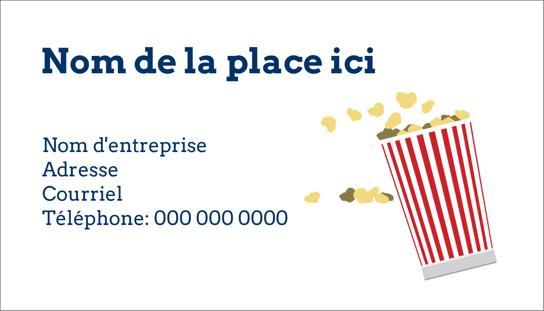 """2"""" x 3½"""" Carte d'affaire - Popcorn et film"""