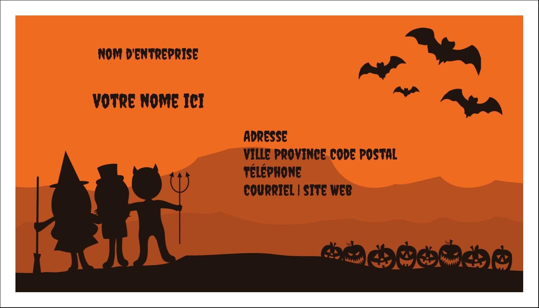 """2"""" x 3½"""" Carte d'affaire - Enfants à l'Halloween"""