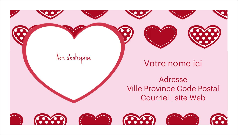 """2"""" x 3½"""" Carte d'affaire - Cœur de Saint-Valentin"""