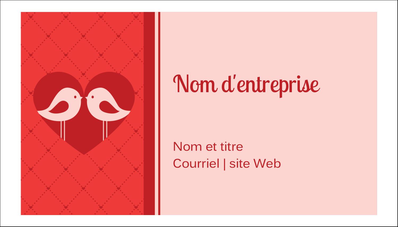 """2"""" x 3½"""" Carte d'affaire - Oiseaux amoureux"""