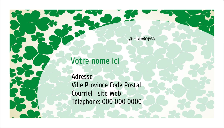 """2"""" x 3½"""" Carte d'affaire - Arrière-plan de trèfles de la Saint-Patrick"""