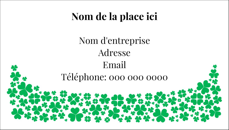 """2"""" x 3½"""" Carte d'affaire - Pluie de trèfles de la Saint-Patrick"""