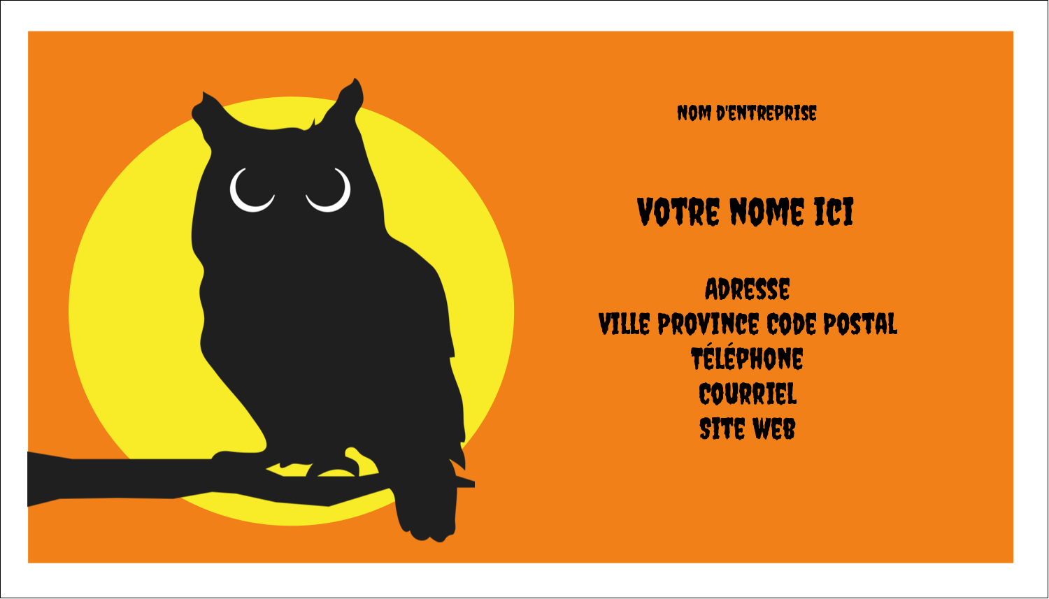 "2"" x 3½"" Carte d'affaire - Chouette d'Halloween"