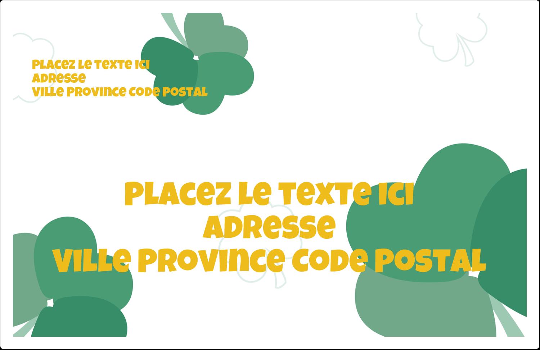 """1½"""" x 4"""" Étiquettes d'adresse - Trèfles en cœur de la Saint-Patrick"""