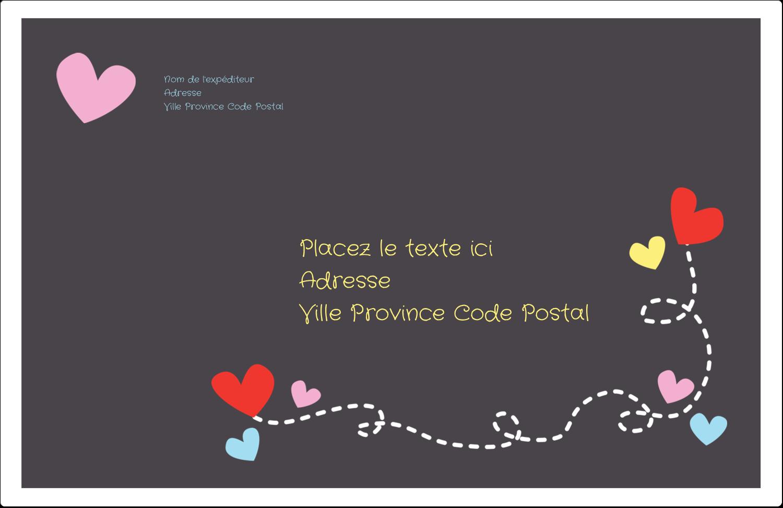 """1½"""" x 4"""" Étiquettes d'adresse - Saint-Valentin sur fond noir"""
