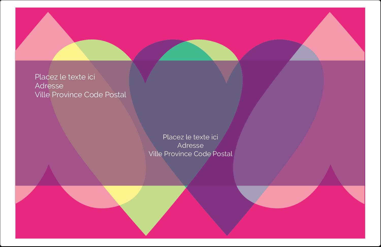 """1½"""" x 4"""" Étiquettes d'adresse - Rang de cœurs de la Saint-Valentin"""