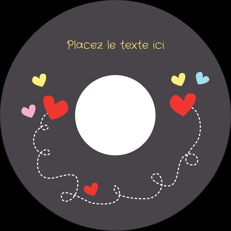 """⅔"""" x 3-7/16"""" Étiquettes de classement - Saint-Valentin sur fond noir"""