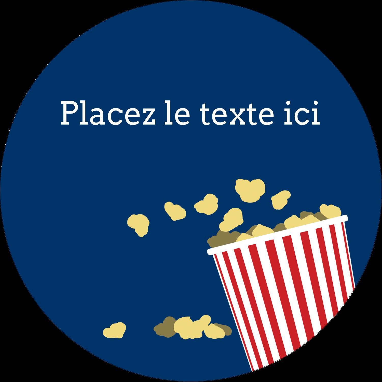 """2¼"""" x ¾"""" Étiquettes Voyantes - Popcorn et film"""