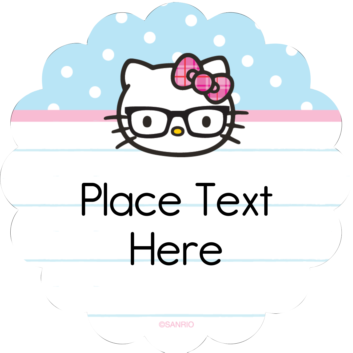 """2½"""" Scallop Labels - Hello Kitty with Glasses"""