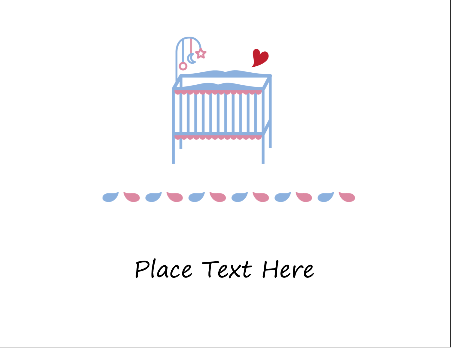 "5½"" x 4¼"" Note Card - Baby Crib"