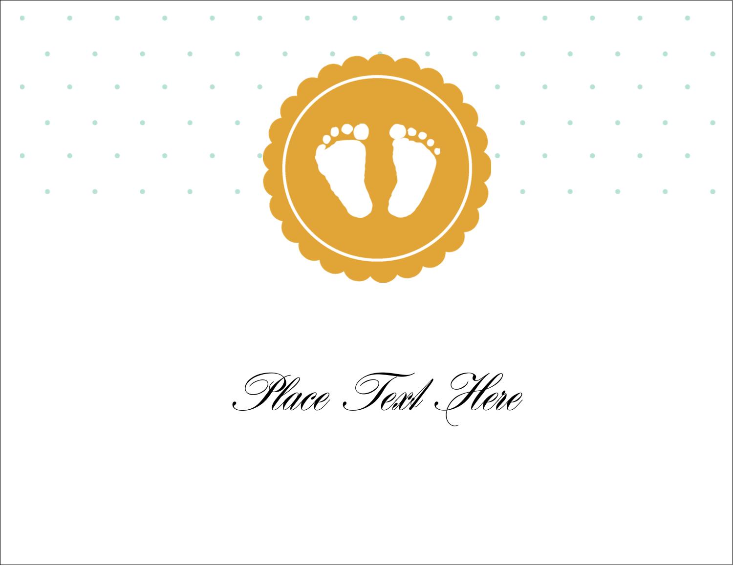 "5½"" x 4¼"" Note Card - Baby Footprints"