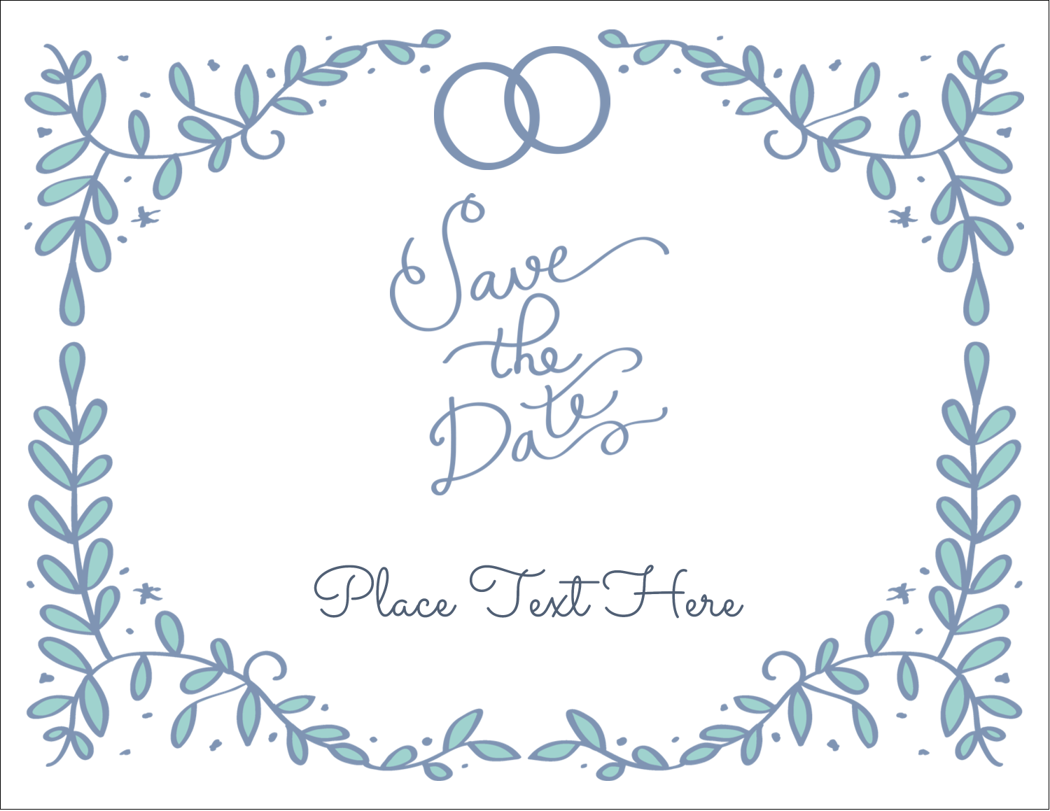 """5½"""" x 4¼"""" Note Card - Save the Date Blue"""